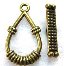 50Sets Wholesale Tibetan Antique Bronze Teardrop Toggle Clasps Connectors Q0775