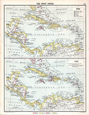 West Indies-Cuba-Jamaica 1660 1763 1905 Robertson & Bartolomé Antiguo Mapa
