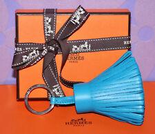HERMES CARMEN Milo Key Chain POM POM Tassel Charm BLEU ZANZIBAR Leather PHW +Box