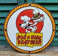 OLD VINTAGE DOG N SUDS ROOT BEER PORCELAIN ADVERTISING SODA SIGN BEVERAGE POP