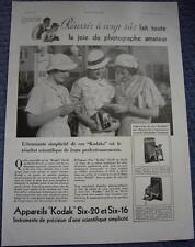 Publicité de presse Appareil Photo KODAK Six-20 et Six-16 Réussir French Ad 1934