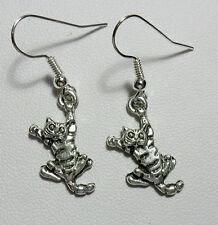 Dangle earrings - cute cat, Tibetan silver style