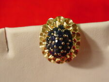 Brooch Pin Estate Find Filigree Floral Vintage 14 Kt Yellow Gold & Sapphire