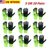 5 OR 10 PAIRS OF LATEX RUBBER PALM STRING KNIT WORK GLOVES Size: ( M ) or ( L )