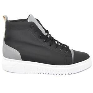 Sneakers alta uomo in tessuto gommato nero e catarifrangente riflettente si illu