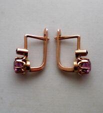 Russian Russia Soviet 14K 583 Rose Pink Gold Pink Tourmaline Ruby EARRINGS 3.2 g