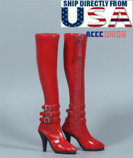"1/6 Scale Leather Boots RED For 12"" Hot Toys TBLeague PHICEN Female Figure USA"