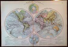 Carta geografica antica MAPPAMONDO con IMPERI COLONIALI 1912 Antique map