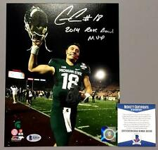 CONNOR COOK SIGNED 2014 ROSE BOWL MVP MICHIGAN STATE 8X10 PHOTO BAS BECKETT COA