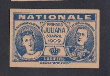 Ancienne  étiquette   allumettes Hollande BN67746 Reine Juliana 2