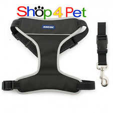 Dog Padded Harness ANCOL CAR & WALKING TRAVEL SEATBELT LEAD S M L XL FOR PET