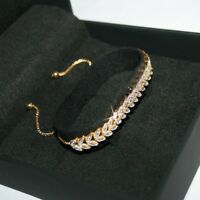 Leaf Tennis Bracelet with 1 Natural Tiny Diamond 14k Yellow Gold over 925 SS