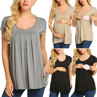 Women Pregnancy Maternity Nursing Ruffles Solid Sleeveless Tops Blouse Tee Shirt