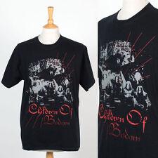 Da Uomo Retrò BAND T-SHIRT VINTAGE Morte Metallo Nero Bambini di Bodom rock L