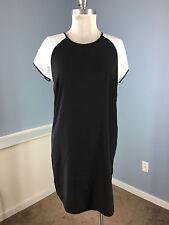 Banana Republic M 8 Black White colorblock Dress Cap Slv Shift Exposed Zip EUC