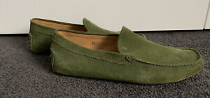 Green suede Tod's loafers, size 10. Made in Italy