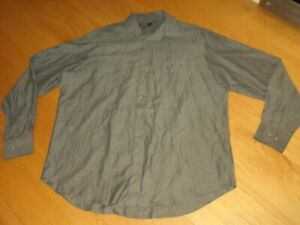 Mens Marks and Spencer pure cotton twill green long sleeve shirt, size 18.5