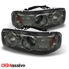 Fits 99-06 GMC Sierra Yukon Denali Pickup Smoked Halo LED Projector Headlights