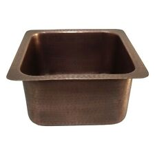 "Square Copper Bar Sink Antique Hammered Undermount Sink 14"" x 14"" x 8"""