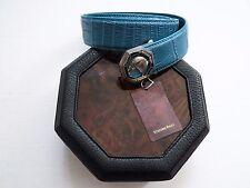 NEW STEFANO RICCI Light Blue Crocodile Alligator Leather Belt Size 40 US 100 CM
