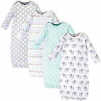 Hudson Baby Cotton Gowns, Gray Elephant, 4-Pack, 0-6 Months