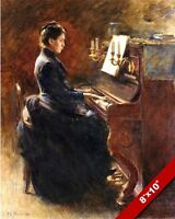 WOMAN IN DRESS PLAYING UPRIGHT PIANO OIL PAINTING ART REAL CANVAS GICLEEPRINT