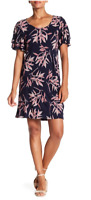 NWT Lucky Brand Dress Women's Size M Printed Ruffle Sleeves Navy Pink