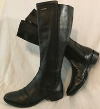 Geox Black Knee High Leather Beautiful Boots Size 38 (509vv)