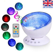 Relaxing Ocean Wave Music LED Night Light Projector Remote Lamp Baby Gift UK Y5