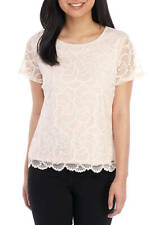 NWT CALVIN KLEIN PINK LACE CAREER TOP BLOUSE SIZE XL