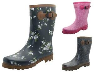 Ladies Wide Calf Wellington Boots Northwest Territory Fashion Wellies Printed