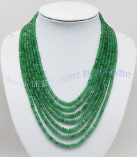 7 ROWS 2X4MM FACETED GREEN AVENTURINE GEMSTONE RONDELLE BEADS NECKLACES 17-23''