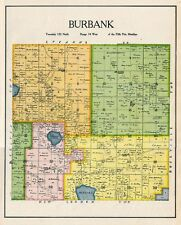 BURBANK TOWNSHIP of KANDIYOHI COUNTY MINNESOTA, RARE 1905 COLOR MAP, BURBANK