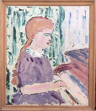 Inconnu Expressionist-fille au piano-Girl at the piano oil painting