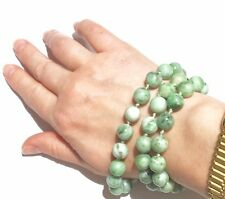 """88g! Natural NO dye """"moss in snow"""" natural jade sterling silver Vintage necklace"""