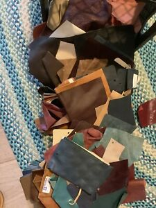 Lot of Leather Samples Approx 7-8 lbs Milk Crate Stuffed Full (crate Not Incl)