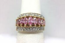 1ct Pink Marquise Cluster Band Ring Yellow Gold over Sterling Silver 5 3/4 FM...