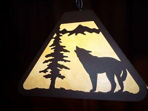 Laser cut Steel American Wolf Bar Pendant Dart Board Light Lamp rustic cabin BLK
