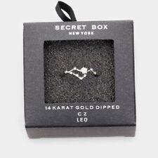 Secret Box Ring Zodiac Sign LEO CZ Cuff Celestial Horoscope WHITE DIPPED