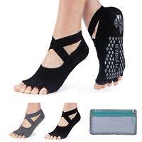 Hylaea Yoga Socks for Women with Grip & Non Slip Toeless Half Toe Socks for B...
