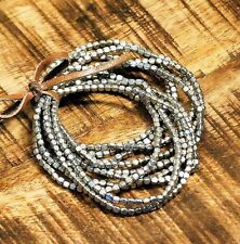 Silver Stretch Elastic Iron Metal Beaded Bracelet Set of 10