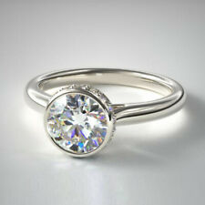Real Diamond Engagement Ring 950 Platinum Women's Round Cut 0.66 Ct Size L N O P