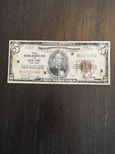 SERIES 1929 $5 FEDERAL RESERVE BANK OF NEW YORK BROWN SEAL NOTE