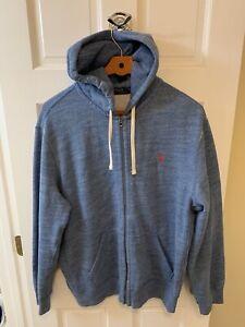 Polo Ralph Lauren Full Zip Up Hoodie Sweatshirt Men Extra Large XL Heather Blue