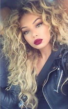 ATOZ Long Curly Synthetic Blonde Heat Safe Wig Ombre Blonde Wigs Women's Hair