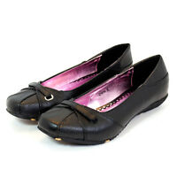 NEW GIRLS SLIP ON KIDS FLAT SMART DOLLY BLACK SCHOOL SHOES LOW WORK SIZE 3-8