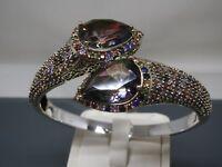 Turkish Handmade Jewelry 925 Sterling Silver Rainbow Stone Women Bangle