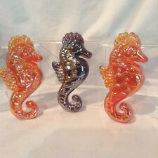 "Glass Seahorses 3/ Lot 4 3/4"" x 2 1/4 x 5/8"" Decor or in fishtank $11.99"