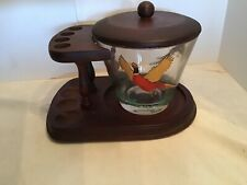 Vintage Smoking Pipe Stand Rack, Glass Jar, Pheasant Humidor Gold Trim