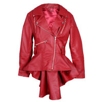Ladies Women slim Fit Fashion Lamb Skin Genuine Red Leather Frock, Jacket US,AU